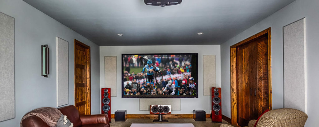 home theater, A/V system, acoustic panels, home automation